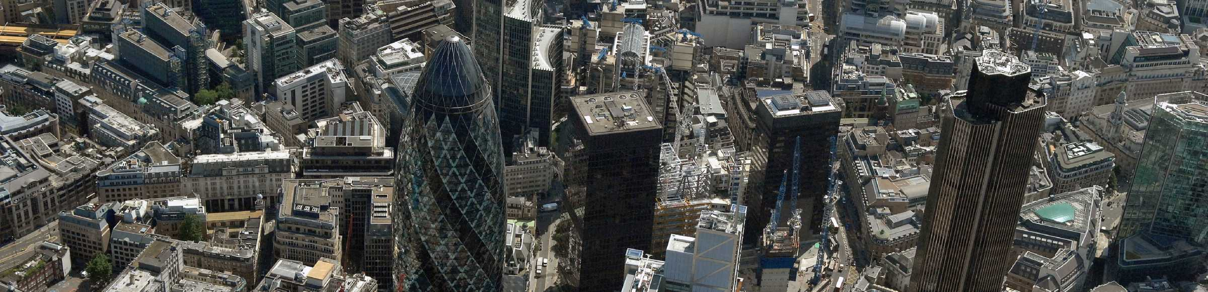The city center in the downtown area in the district City of London in London in England, United Kingdom