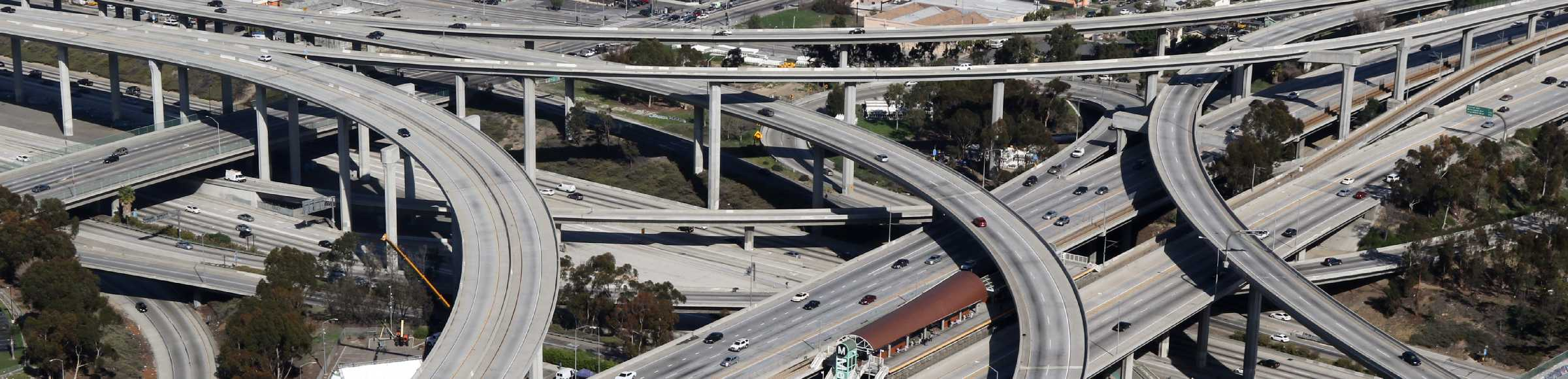 Traffic flow at the intersection- motorway Harbor Gateway North in Los Angeles in California, United States of America