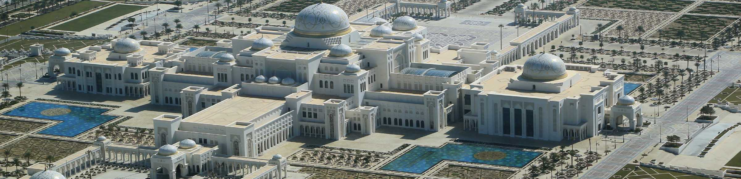 UAE Presidential Palace on the peninsula Ras al Akhdar in the Persian Gulf in Abu Dhabi in United Arab Emirates