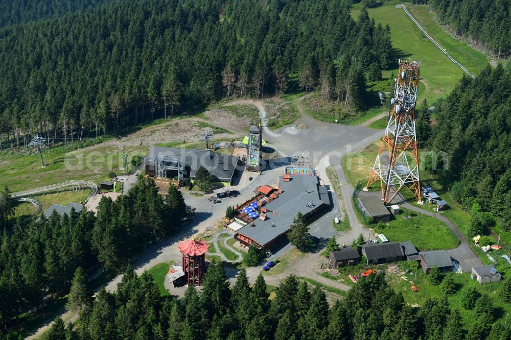 Aerial photograph Hahnenklee - Mountain slope with downhill ski slope and cable car - lift on Bocksberg in Hahnenklee in the state Lower Saxony, Germany