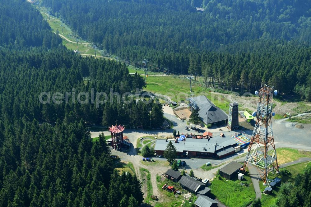 Hahnenklee from above - Mountain slope with downhill ski slope and cable car - lift on Bocksberg in Hahnenklee in the state Lower Saxony, Germany