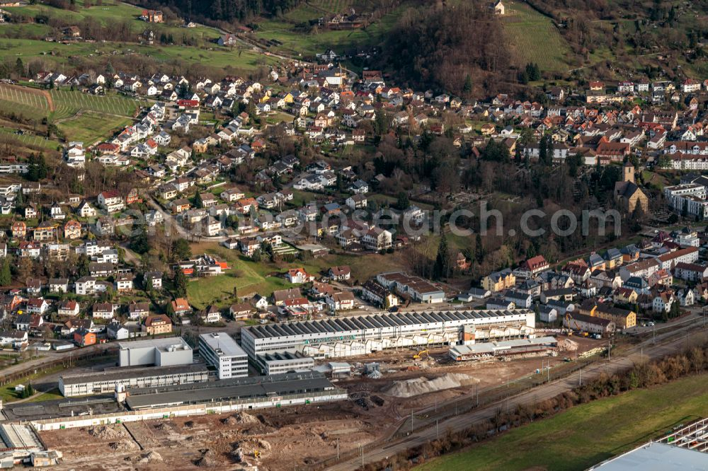 Aerial image Gengenbach - Company grounds and facilities of Aliseo Art Projects in Gengenbach in the state Baden-Wurttemberg, Germany