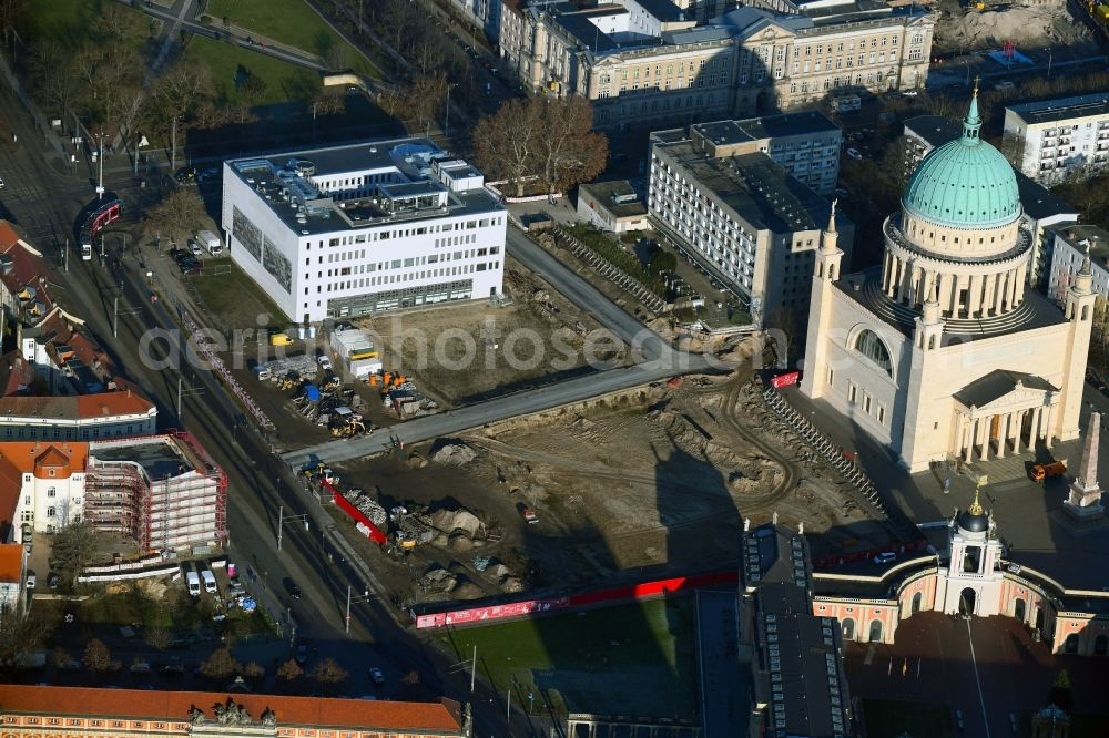 Potsdam from above - Demolition of the former school building of Fachhochschule Potsdam on Friedrich-Ebert-Strasse in Potsdam in the state Brandenburg, Germany