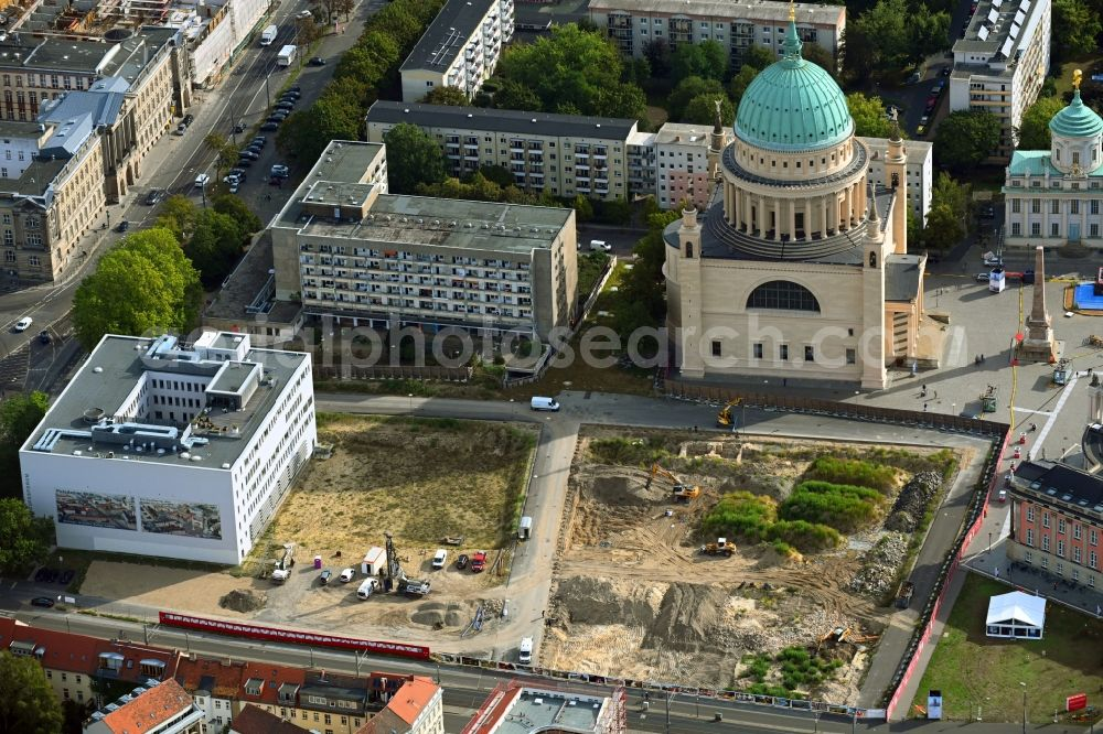 Aerial image Potsdam - Demolition of the former school building of Fachhochschule Potsdam on Friedrich-Ebert-Strasse in Potsdam in the state Brandenburg, Germany