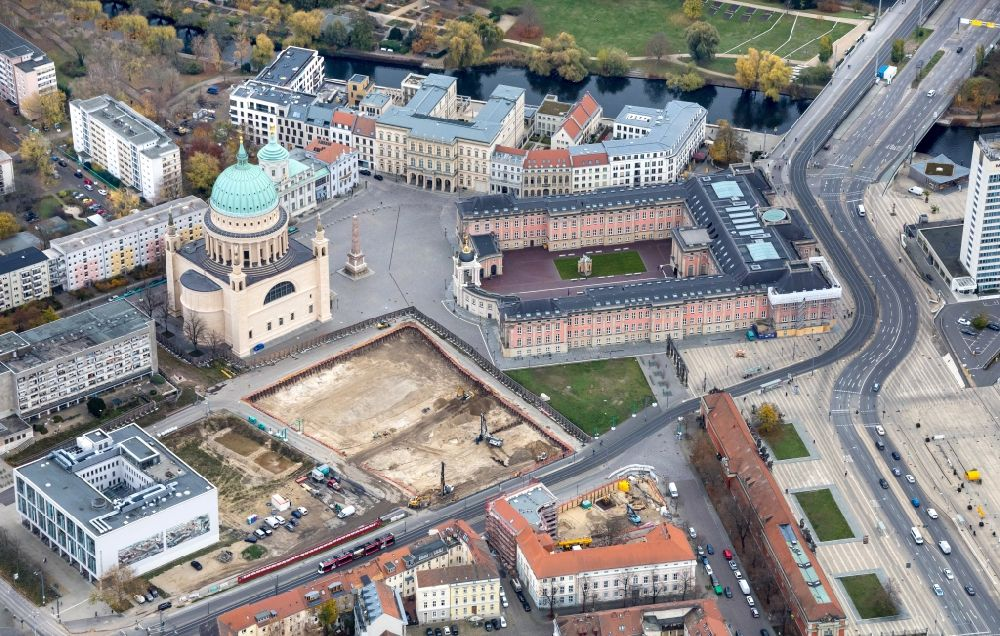 Aerial photograph Potsdam - Demolition of the former school building of Fachhochschule Potsdam on Friedrich-Ebert-Strasse in Potsdam in the state Brandenburg, Germany