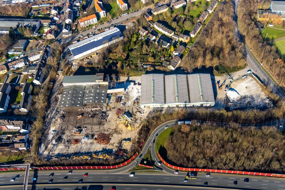 Bochum from above - Demolition work on the site of the former logistics center ruin on Berliner Strasse for the new building of a hardware store in the district Wattenscheid in Bochum in the state North Rhine-Westphalia, Germany
