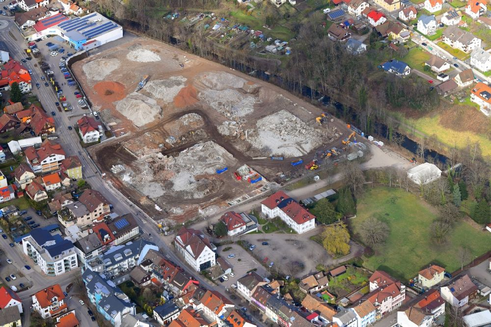 Wehr from the bird's eye view: Demolition work on the site of the Industry- ruins Brennet Areal in Wehr in the state Baden-Wuerttemberg, Germany