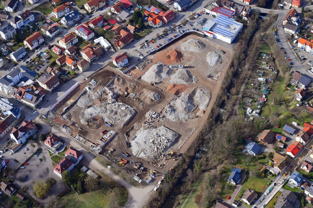 Wehr from above - Demolition work on the site of the Industry- ruins Brennet Areal in Wehr in the state Baden-Wuerttemberg, Germany