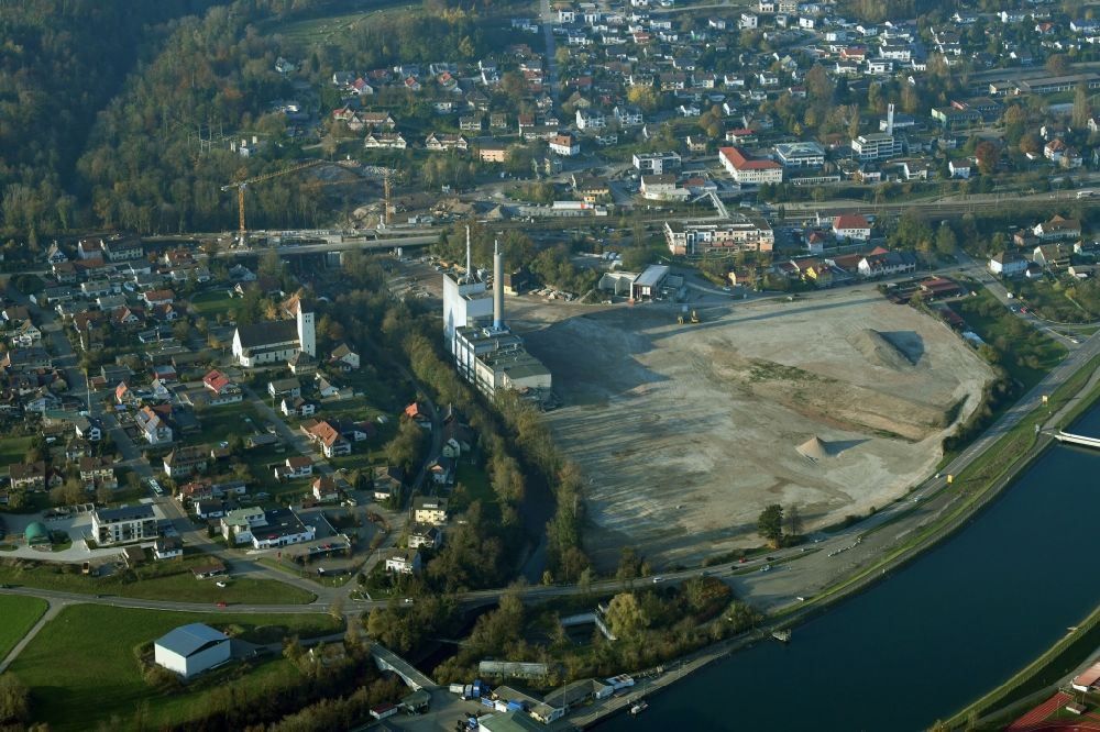 Aerial image Albbruck - Demolition work on the site of the Industry- ruins the former paper mill at the Rhine river in Albbruck in the state Baden-Wurttemberg, Germany. Further information at: Karl Bau GmbH.