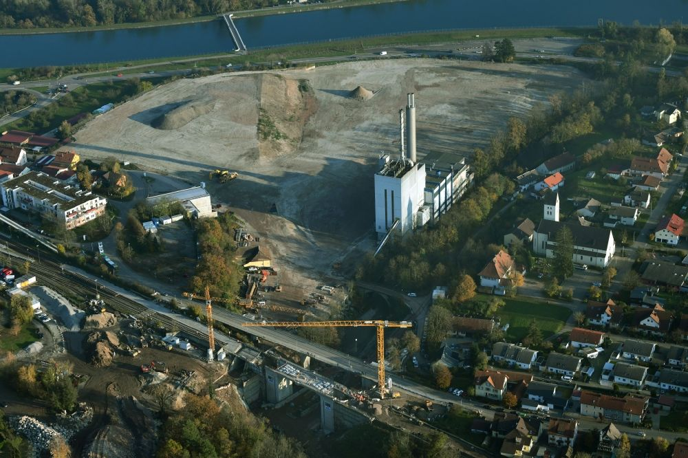 Albbruck from above - Demolition work on the site of the Industry- ruins the former paper mill at the Rhine river in Albbruck in the state Baden-Wuerttemberg, Germany