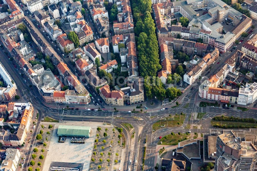 Aerial image Mannheim - Ensemble space of Old Messplatz and music-hall old fire brigade in the inner city center of district Neckarstadt in Mannheim in the state Baden-Wurttemberg, Germany