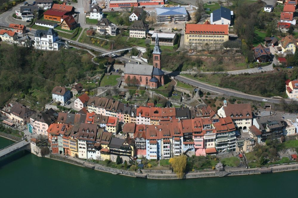 Laufenburg from above - City area with old town at the river Rhine in Laufenburg in the state Baden-Wuerttemberg, Germany