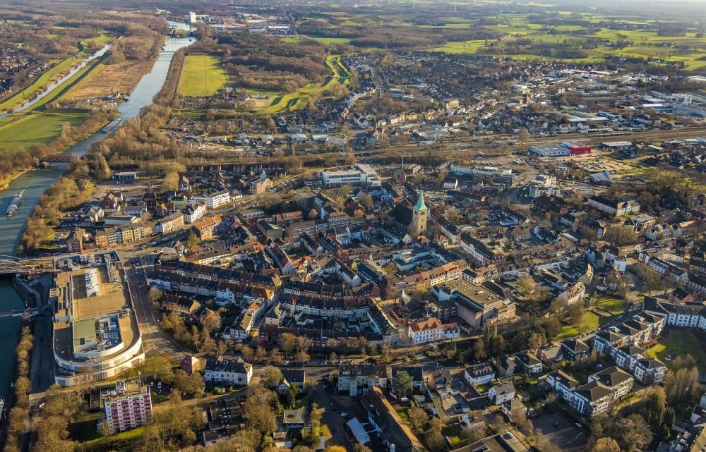 Dorsten from above - Old Town area and city center in Dorsten at Ruhrgebiet in the state North Rhine-Westphalia, Germany