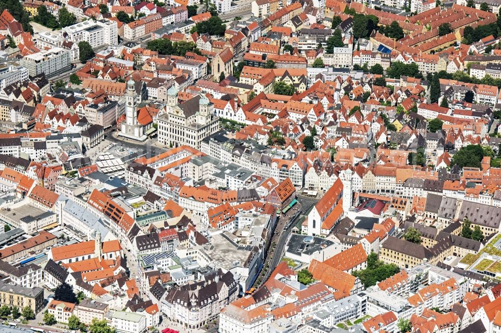 Aerial photograph Augsburg - Old Town area and city center in Augsburg in the state Bavaria, Germany