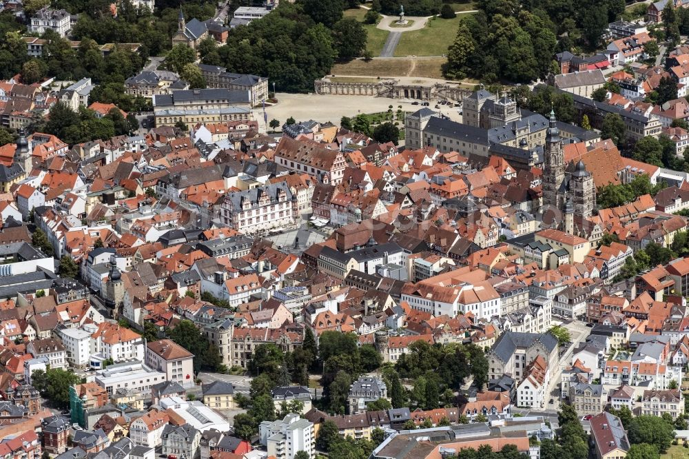 Aerial photograph Coburg - Old Town area and city center in Coburg in the state Bavaria, Germany