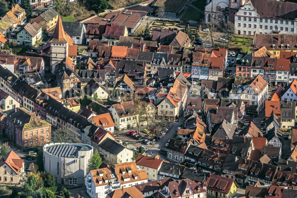 Gengenbach from above - Old Town area and city center in Gengenbach in the state Baden-Wurttemberg, Germany