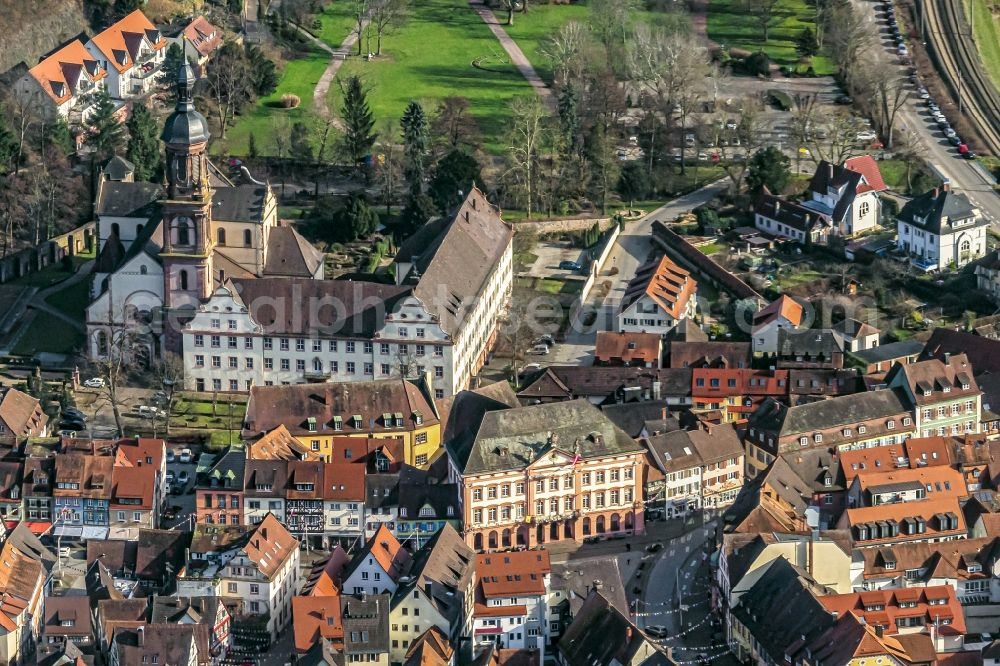 Aerial image Gengenbach - Old Town area and city center in Gengenbach in the state Baden-Wurttemberg, Germany