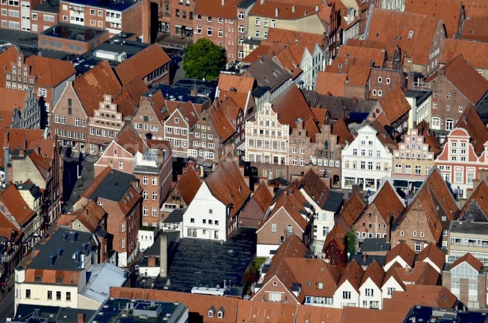 Lüneburg from above - Old Town area and city center Am Sande in Lueneburg in the state Lower Saxony, Germany