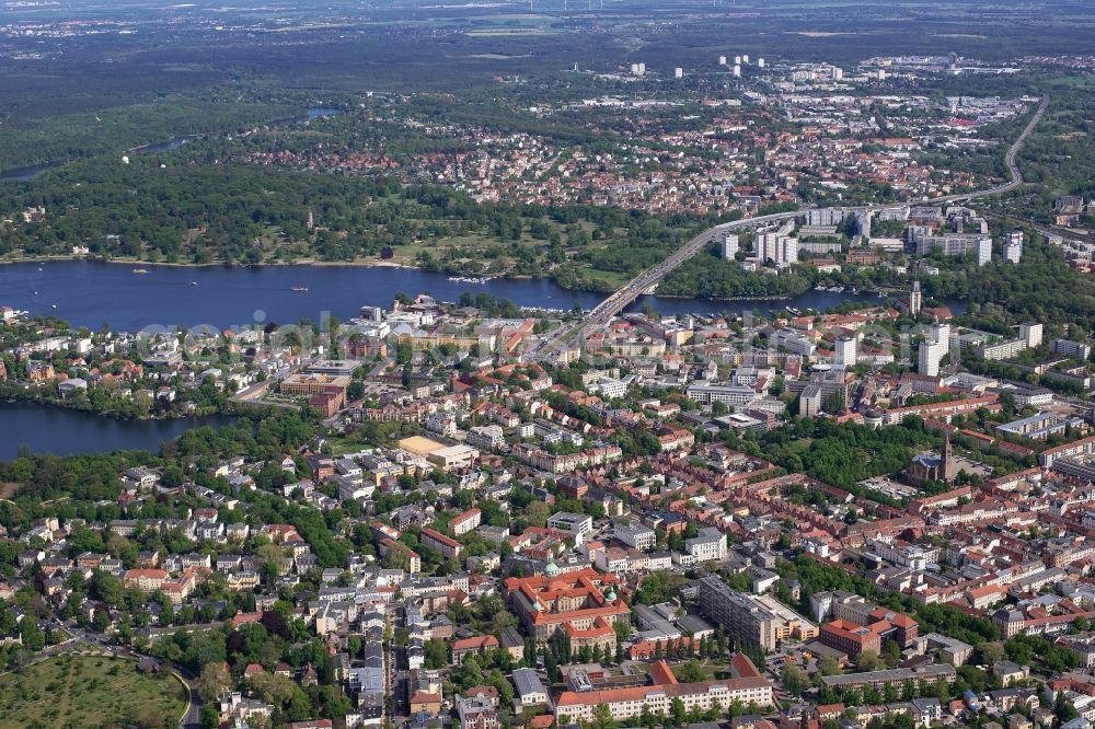 Potsdam from above - Old Town area and city center in Potsdam in the state Brandenburg, Germany