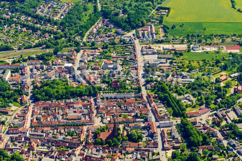 Aerial image Pritzwalk - Old Town area and city center in Pritzwalk in the state Brandenburg, Germany