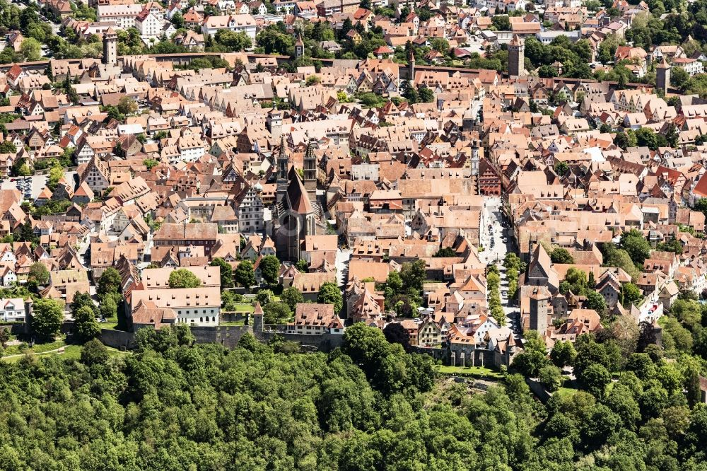 Aerial image Rothenburg ob der Tauber - Old Town area and city center in Rothenburg ob der Tauber in the state Bavaria, Germany.