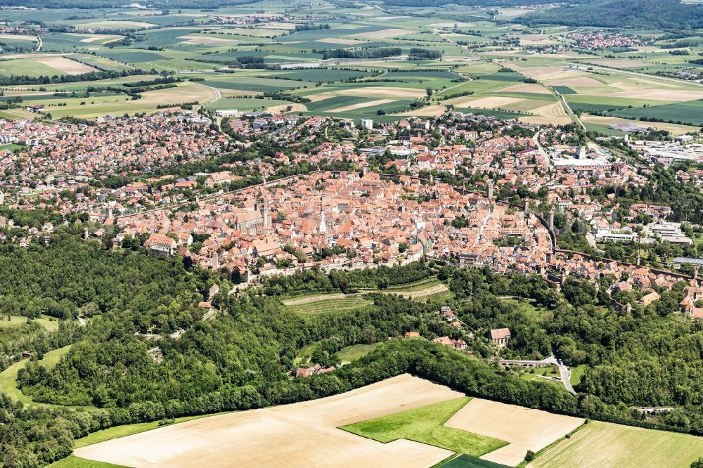 Aerial photograph Rothenburg ob der Tauber - Old Town area and city center in Rothenburg ob der Tauber in the state Bavaria, Germany.