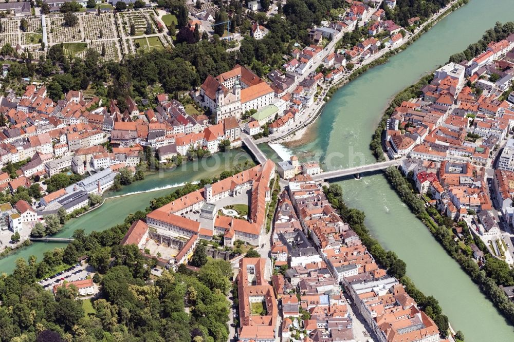 Aerial photograph Steyr - Old Town area and city center on Muendung of Steyr in die Enns in Steyr in Oberoesterreich, Austria