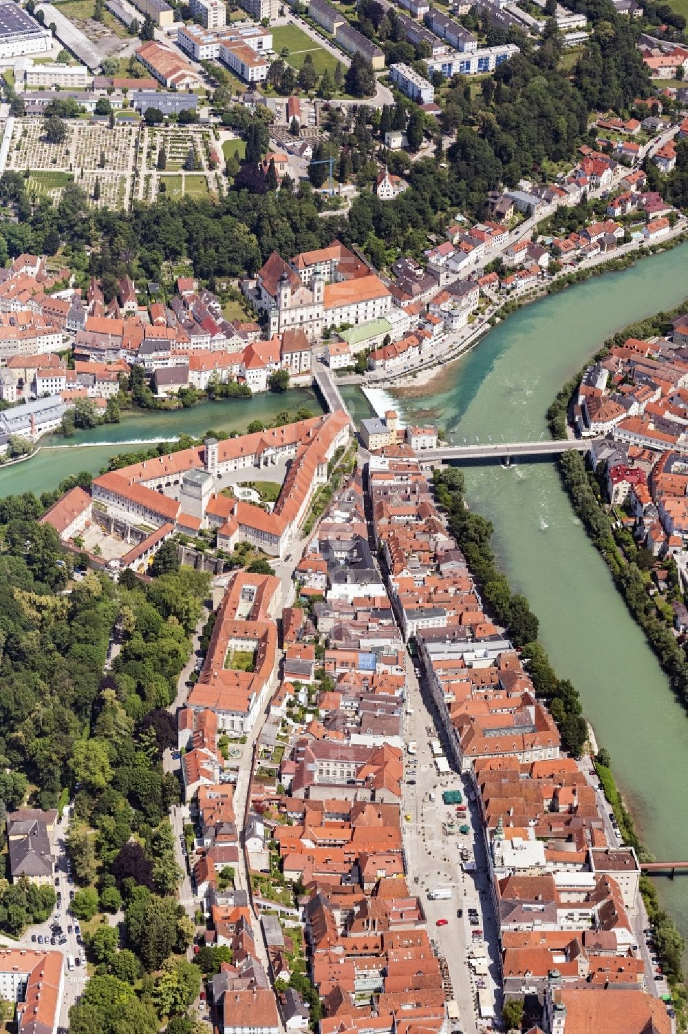 Steyr from above - Old Town area and city center on Muendung of Steyr in die Enns in Steyr in Oberoesterreich, Austria