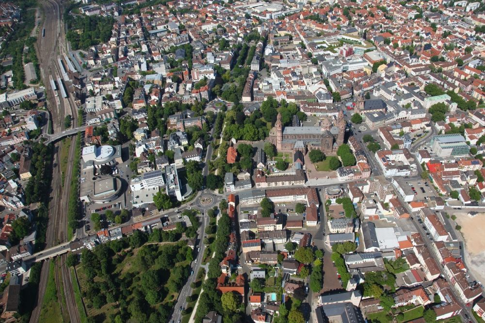 Worms from above - Old Town area and city center in Worms in the state Rhineland-Palatinate, Germany