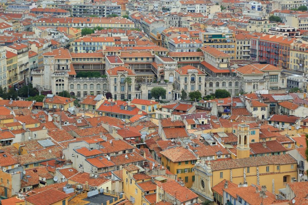 Nizza from above - Old Town area in the district Vieux Nice and historical school buildings of Lycee Massena in Nice in Provence-Alpes-Cote d'Azur, France