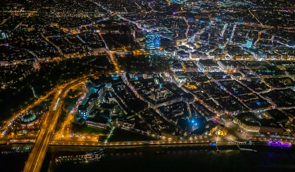 Düsseldorf at night from above - Night lighting old Town area and city center - Carlstadt on rhine river in Duesseldorf in the state North Rhine-Westphalia, Germany