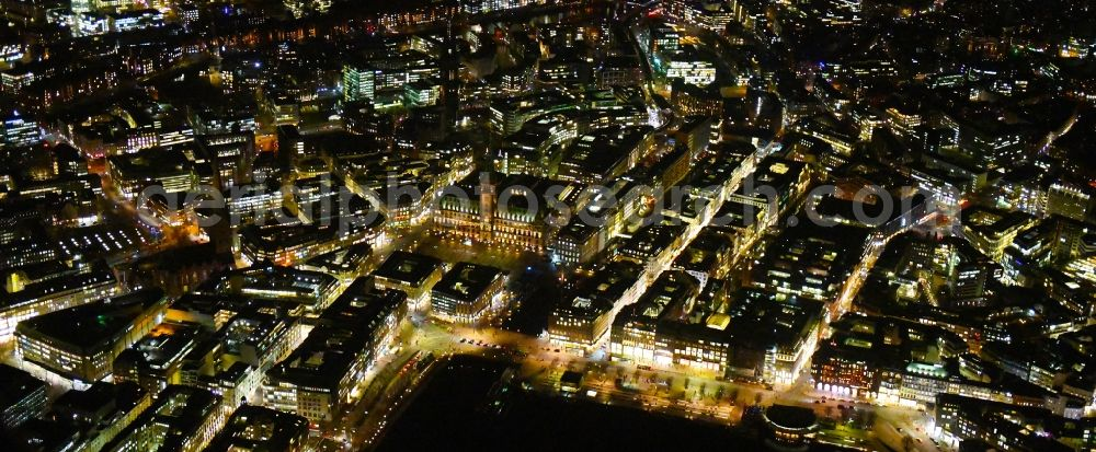 Aerial image at night Hamburg - Night lighting old Town area and city center Jungfernstieg - Ballindonm - Grosse Bleichen on lake shore of Binnenalster in Hamburg, Germany.