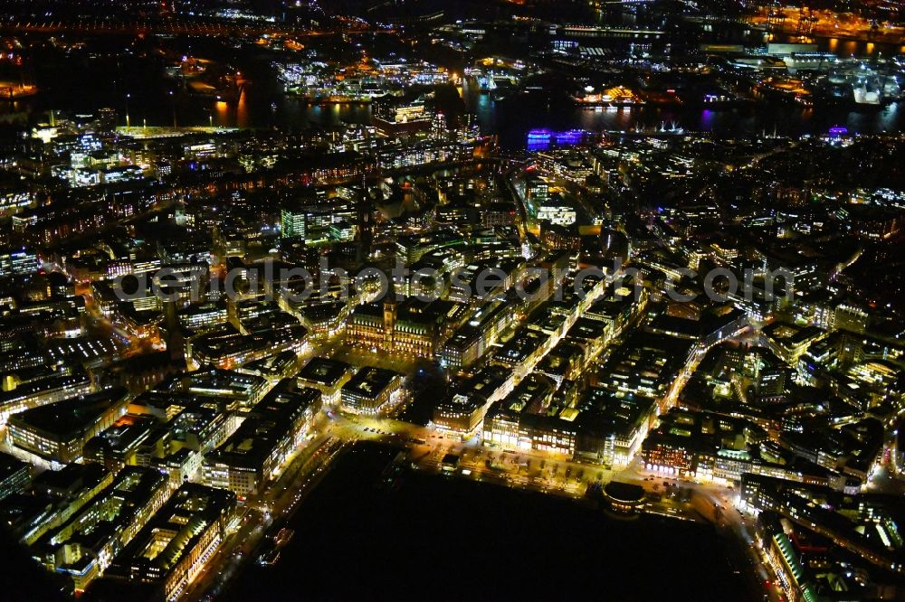 Hamburg at night from above - Night lighting old Town area and city center Jungfernstieg - Ballindonm - Grosse Bleichen on lake shore of Binnenalster in Hamburg, Germany.