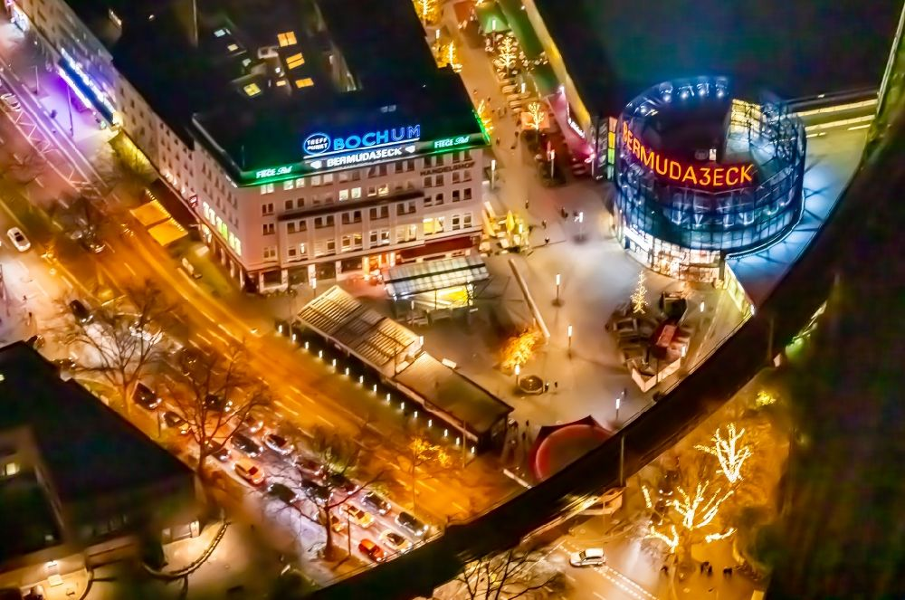 Aerial photograph at night Bochum - Night lighting the grounds of the Bermuda Triangle in Bochum's entertainment district with restaurants and clubs in the city