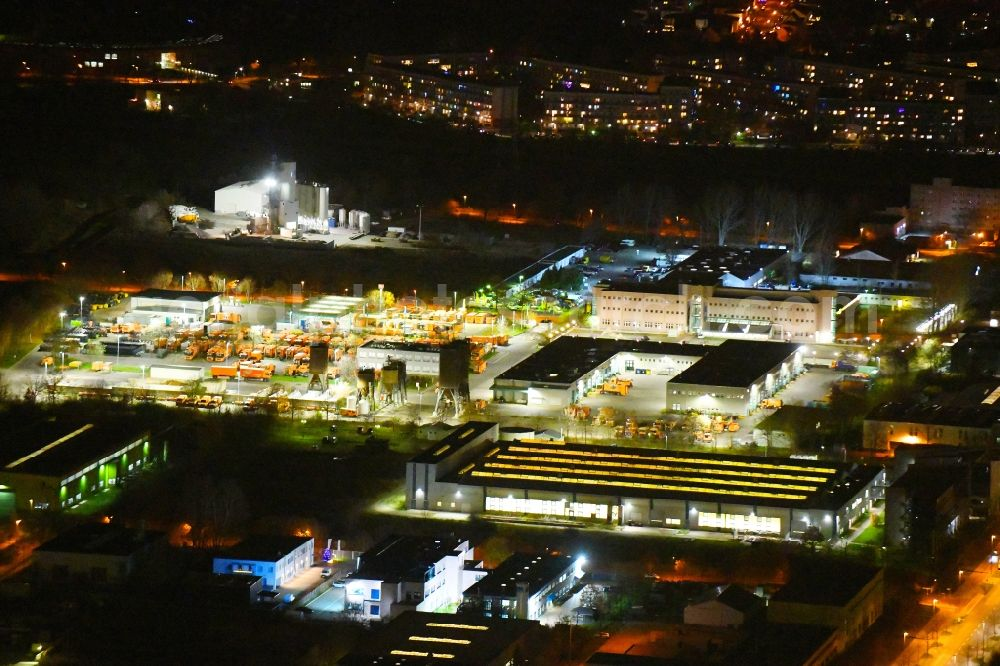 Aerial image at night Berlin - Night lighting site waste and recycling sorting BSR Recyclinghof Nordring in the district Marzahn in Berlin, Germany