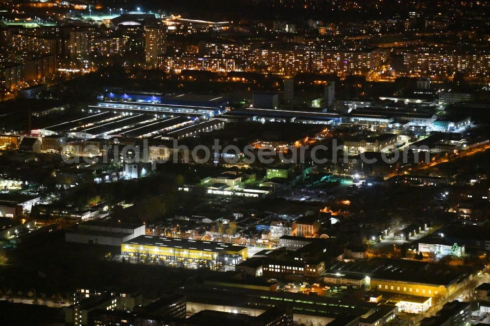 Aerial image at night Berlin - Night lighting industrial estate and company settlement Josef-Orlopp-Strasse corner Siegfriedstrasse in the district Lichtenberg in Berlin, Germany