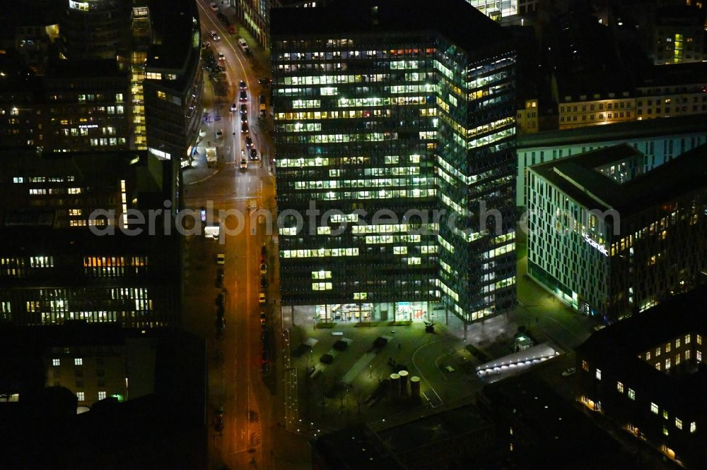 Hamburg at night from above - Night lighting high-rise ensemble of Emporio-Hochhaus in the district Neustadt in Hamburg, Germany