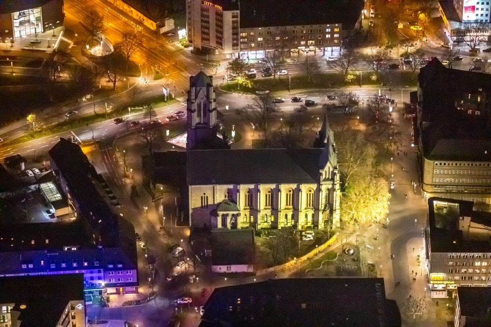Essen at night from above - Night lighting church building St. Gertrud on Rottstrasse in Essen in the state North Rhine-Westphalia, Germany
