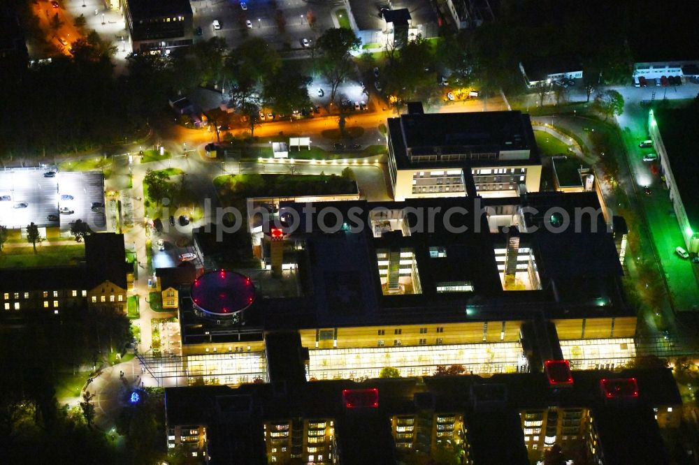 Berlin at night from above - Night lighting hospital grounds of the accident clinic in the district Marzahn-Hellersdorf in Berlin