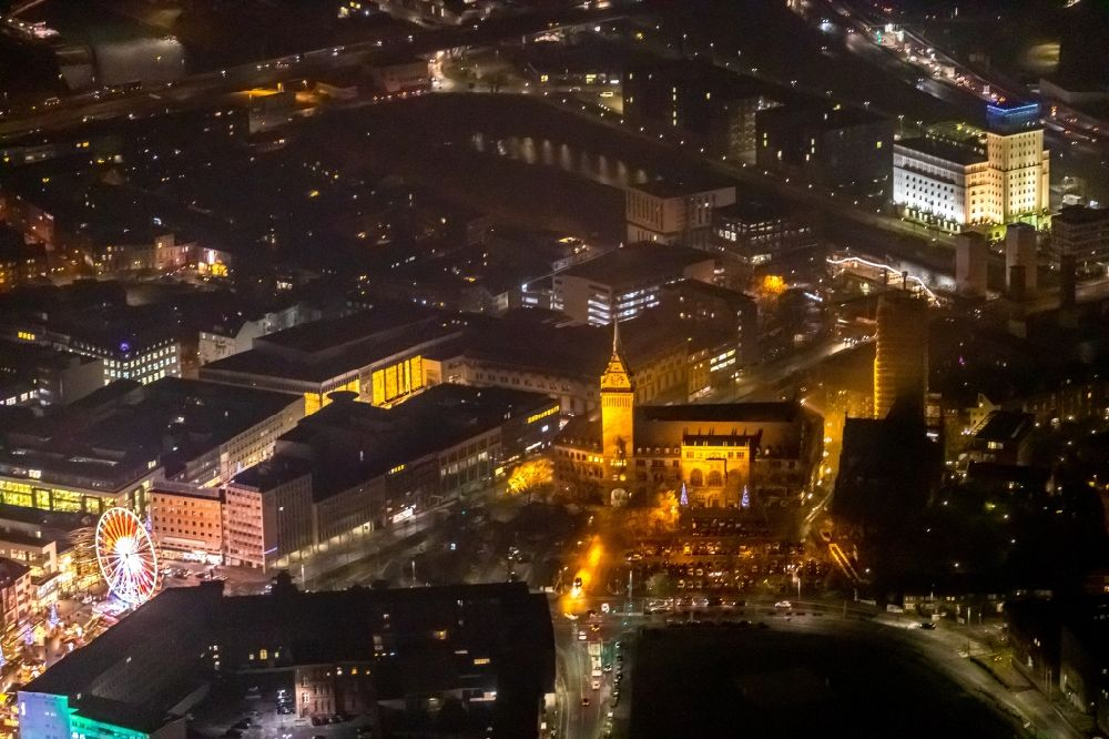 Duisburg at night from above - Night lighting town Salvator church and Hall building of the city administration in Duisburg in the state North Rhine-Westphalia, Germany. Further information at: Evangelischen Kirchengemeinde Alt-Duisburg, Stadt Duisburg, Stadtwerke Duisburg AG.
