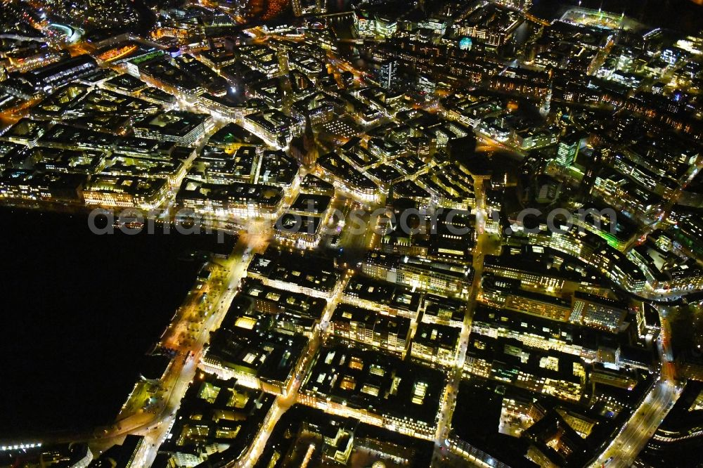 Hamburg at night from above - Night lighting city view on down town Poststrasse - Grosse Bleichen - Jungfernstieg - Neuer Wall - Alter Wall in the city center in Hamburg, Germany
