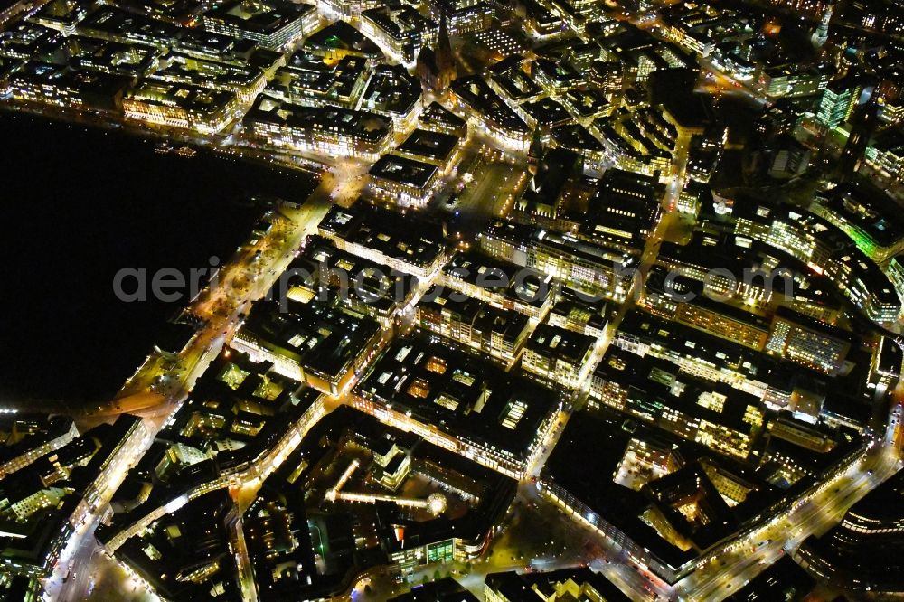 Hamburg at night from above - Night lighting city view on down town Poststrasse - Grosse Bleichen - Jungfernstieg - Neuer Wall - Alter Wall in the city center in Hamburg, Germany.