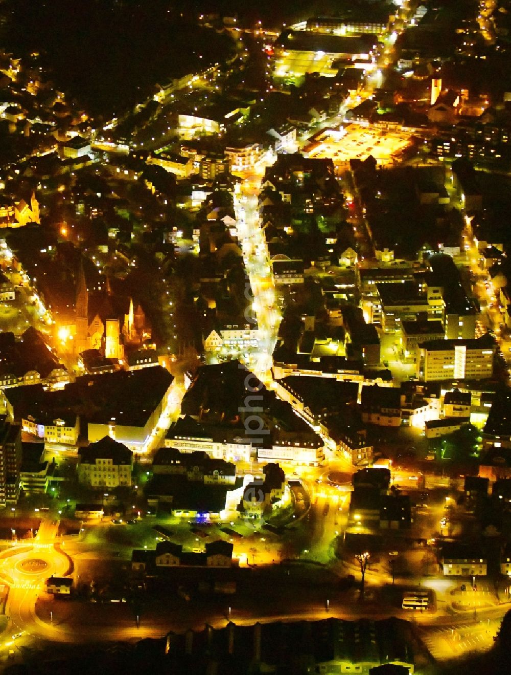 Aerial photograph at night Olpe - Night lighting city view on down town in Olpe in the state North Rhine-Westphalia, Germany