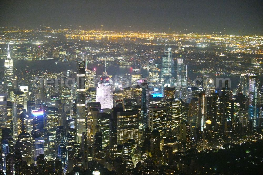 New York at night from above - Night lighting City view of the city area of in the district Manhattan in New York in United States of America
