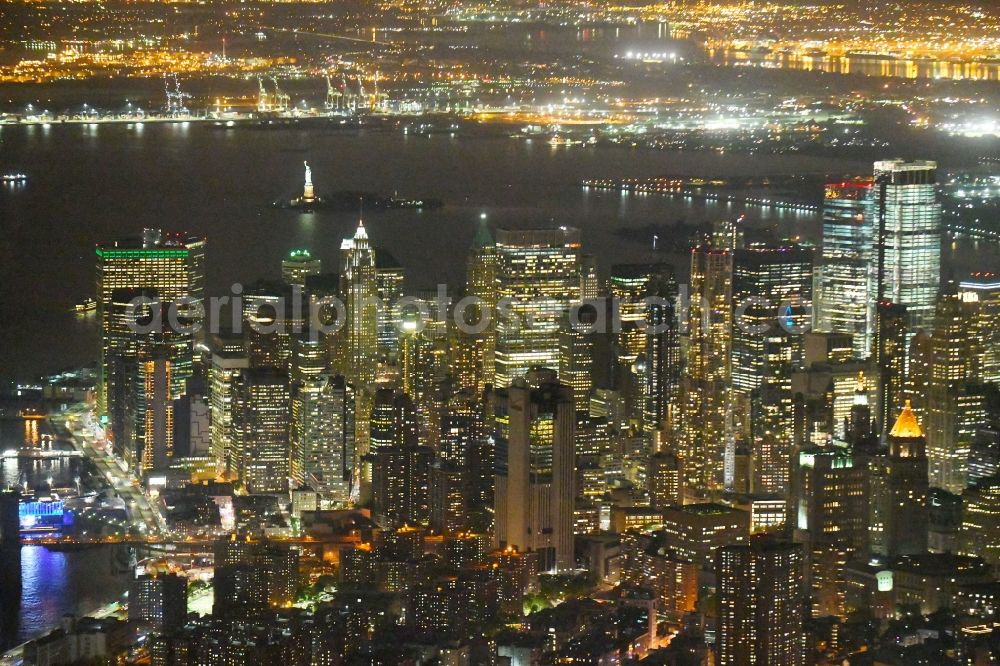 New York at night from above - Night lighting City view of the city area of in the district Manhattan in New York in United States of America.