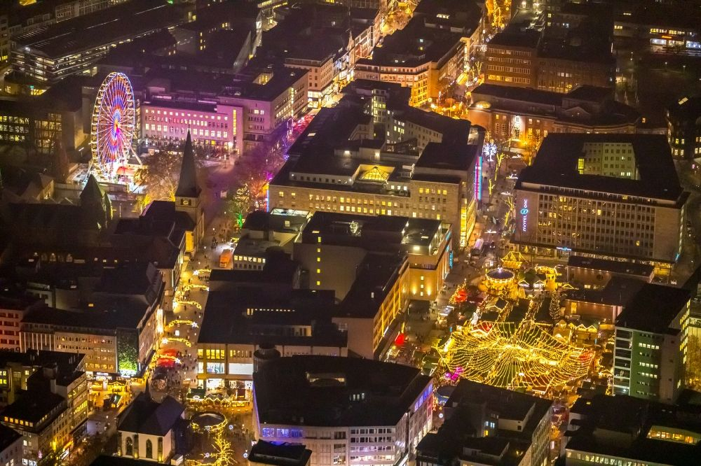 Aerial photograph at night Essen - Night lighting christmas - event site in Essen in the state North Rhine-Westphalia, Germany