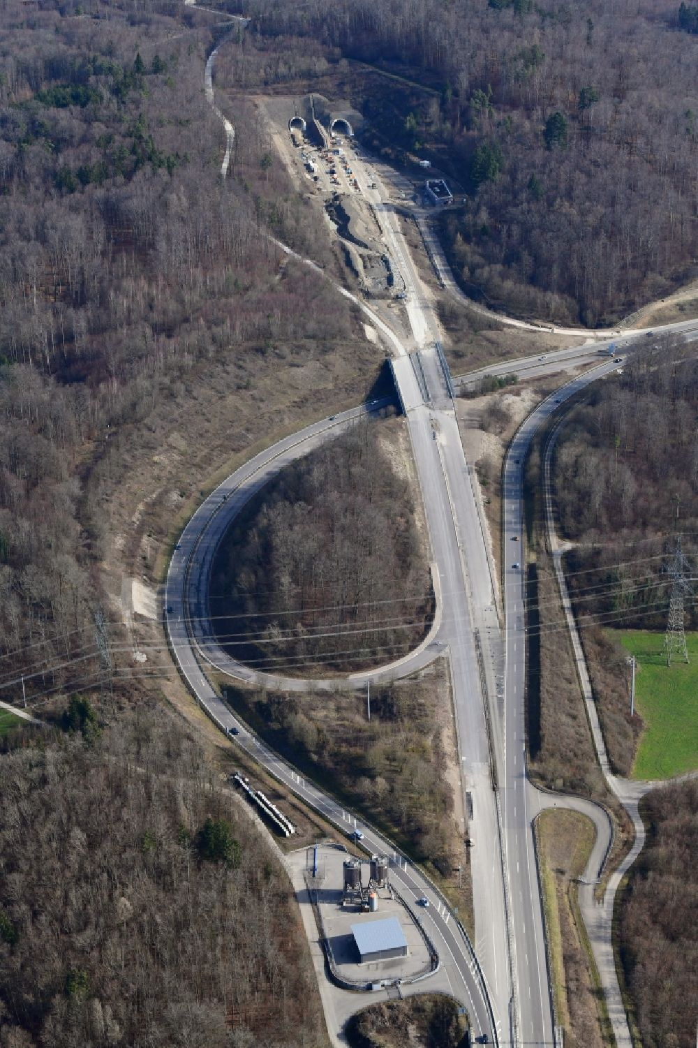 Rheinfelden (Baden) from above - Highway- construction site with earthworks on the route of the highway A98 at the three-leg motorway interchange Hochrhein and the tunnel Herschaftsbucktunnel in Rheinfelden (Baden) in the state Baden-Wurttemberg, Germany