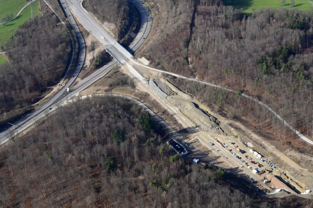 Aerial image Rheinfelden (Baden) - Highway- construction site with earthworks on the route of the highway A98 at the three-leg motorway interchange Hochrhein and the tunnel Herschaftsbucktunnel in Rheinfelden (Baden) in the state Baden-Wurttemberg, Germany