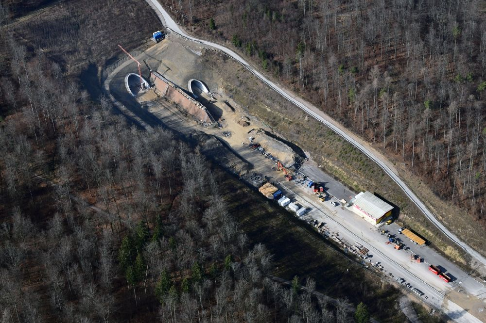 Aerial image Rheinfelden (Baden) - Highway- construction site with earthworks on the route of the highway A98 at the tunnel Herschaftsbucktunnel in Rheinfelden (Baden) in the state Baden-Wurttemberg, Germany