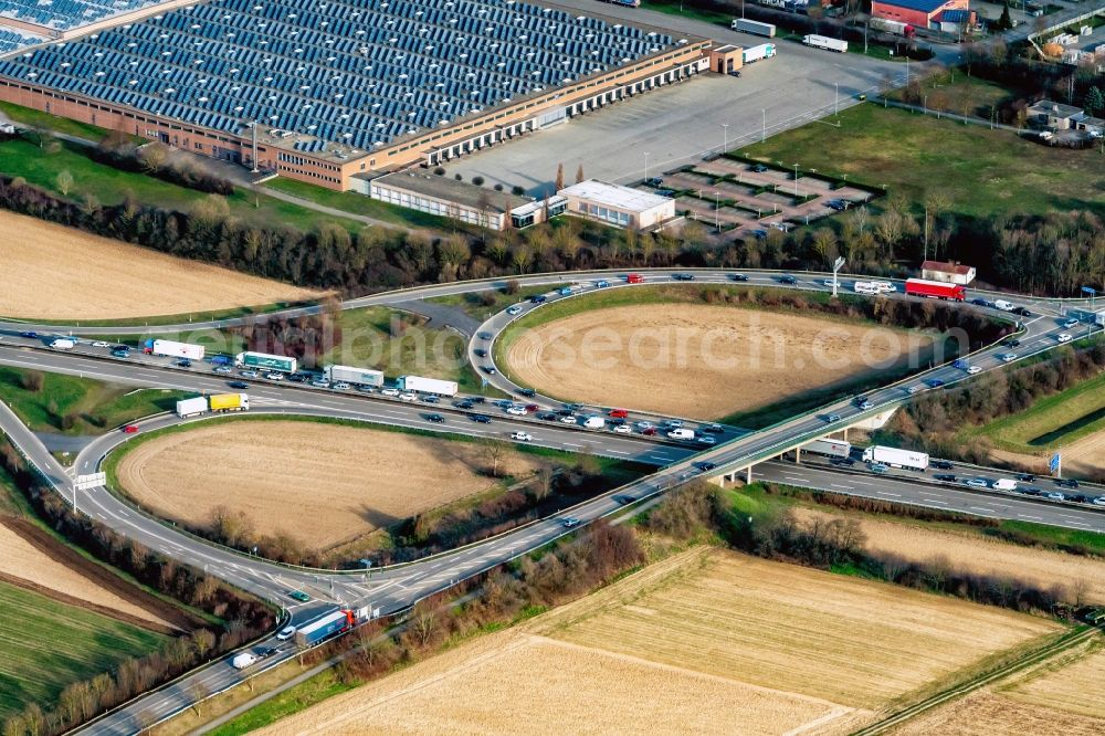 Aerial photograph Mahlberg - Highway congestion along the route of the lanes BAB A5 Ausfahrt Ettenheim in Mahlberg in the state Baden-Wurttemberg, Germany